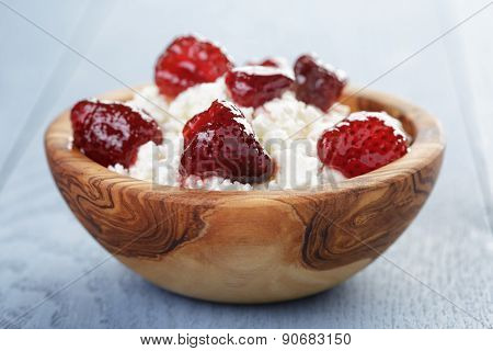 cottage cheese with preserved strawberry
