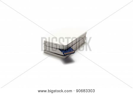 Sd Card In Stack Of Paper