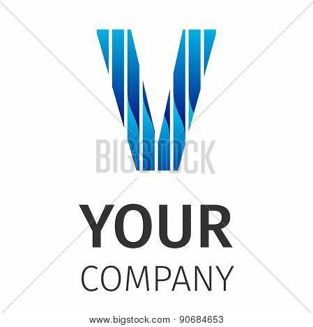 Abstract blue logo V