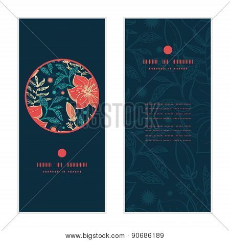 Vector vibrant tropical hibiscus flowers vertical round frame pattern invitation greeting cards set