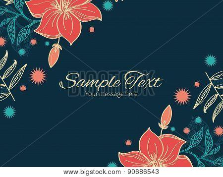 Vector vibrant tropical hibiscus flowers horizontal double corners frame invitation template