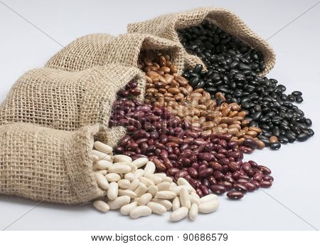 White beans, kidney beans, pinto beans and black beans.