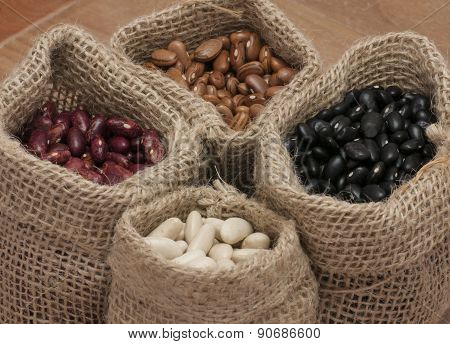 White beans, kidney beans, pinto beans and black beans,.