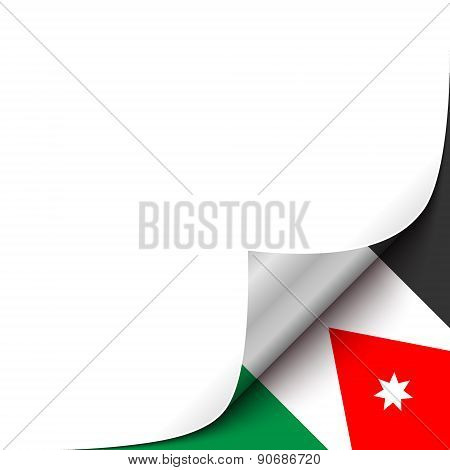 Curled up Paper Corner on Jordan Flag Background.Vector Illustration