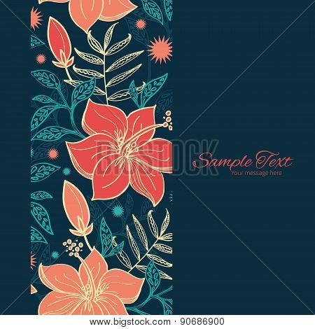 Vector vibrant tropical hibiscus flowers vertical frame seamless pattern background