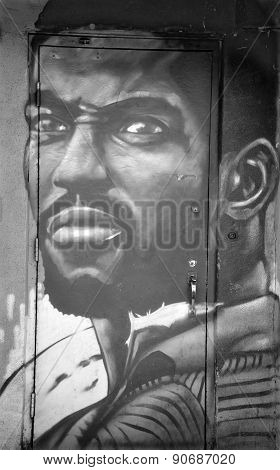 Street art Montreal black man