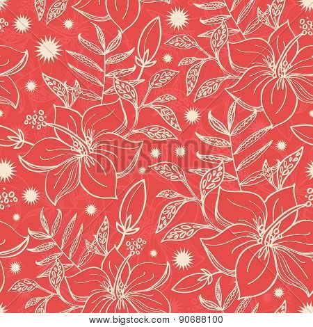 Vector red and beige tropical floral seamless pattern background
