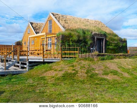 Typical scandinavian house with grass roof