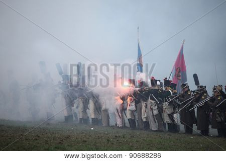 TVAROZNA, CZECH REPUBLIC - DECEMBER 3, 2011: Re-enactors uniformed as Russian soldiers attend the re-enactment of the Battle of Austerlitz (1805) near Tvarozna, Czech Republic.
