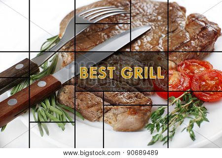 Delicious grilled meat on plate and space for text