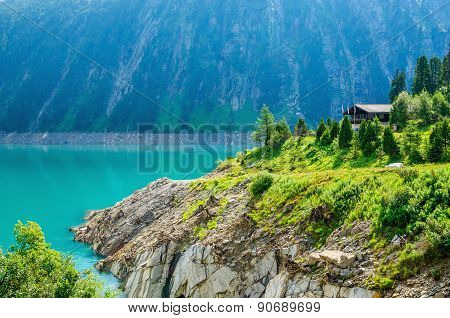 Azure lake with peaks of the Alps, Austria