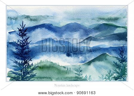 Watercolor Landscape Of Mountains And Fir Trees.