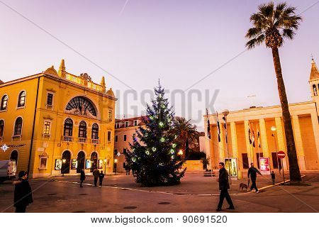 Split, Croatia - January 1: Decorated Christmas Tree In Split; Croatia In Front Of The Croatian Nati