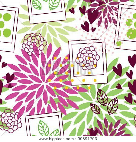 Floral Pattern With Polaroid Frames