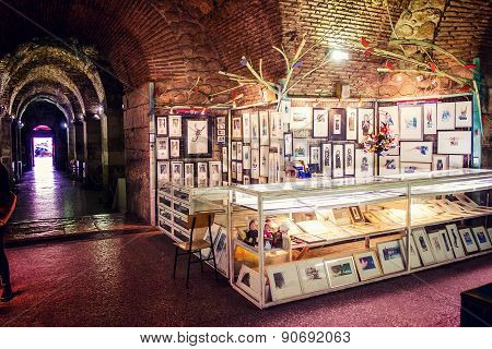 Split, Croatia - January 1: Souvenir Stand In The Historic Palace Of The Roman Emperor Diocletian In