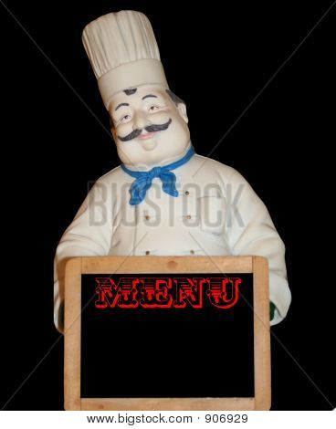 Chubby Chef With Menu Sign