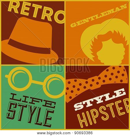 hipster design over colors background vector  illustration