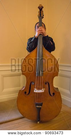 musician behind his String Bass