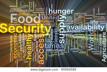 Background concept wordcloud illustration of food security glowing light