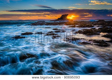 Waves And Rocks At Sunset, At Little Corona Beach, In Corona Del Mar, California.