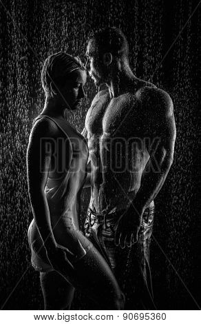 conflict and emotional stress in young people couple in rain