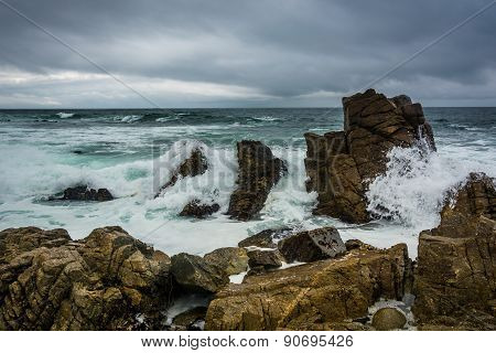 Waves Crashing On Rocks In The Pacific Ocean, Seen From The 17 Mile Drive, In Pebble Beach, Californ