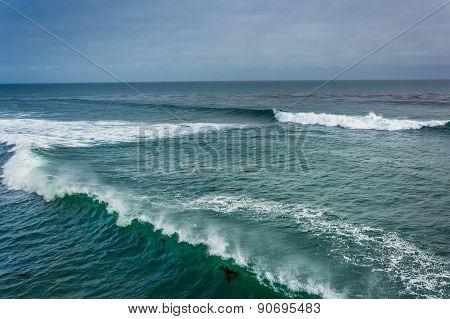 Waves In The Pacific Ocean, In Santa Cruz, California.