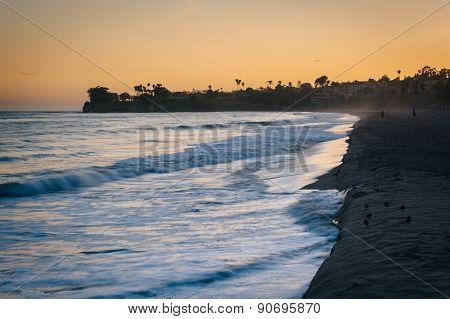 Waves In The Pacific Ocean At Sunset, In Santa Barbara, California.