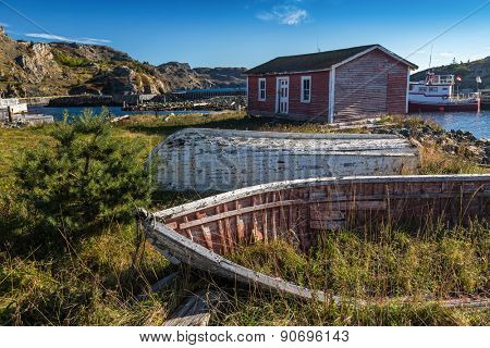 Old wooden boats in the town of Brigus, Newfoundland, Canada.