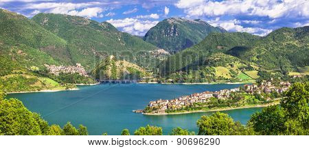 impressive views of Turano lake with village Colle di Tora, Ital