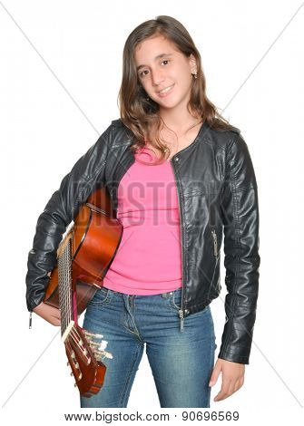 Trendy hispanic teenage girl carrying a guitar isolated on white