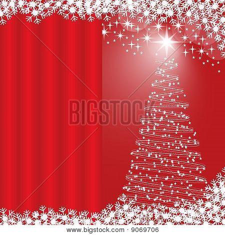 Xmas Tree Red Background
