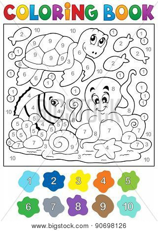 Coloring book with sea animals 4 - eps10 vector illustration.