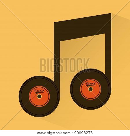 Musical notes with long play vector illustration