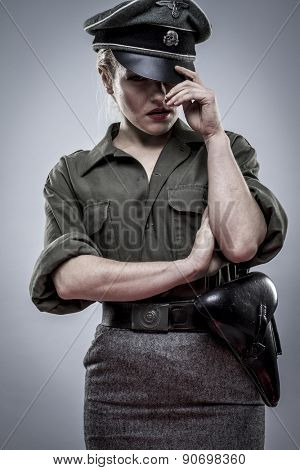 Nazi, German officer in World War II, reenactment, soldier beautiful woman