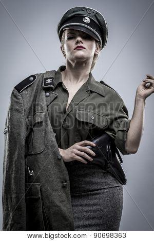 German officer in World War II, reenactment, soldier beautiful woman