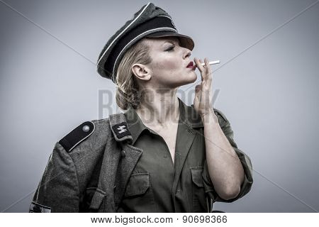 War, German officer in World War II, reenactment, soldier beautiful woman