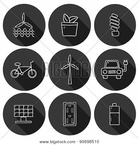 Set of hand drawn icons on renewable energy theme