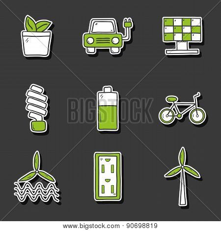 Set of hand drawn stickers on renewable energy theme