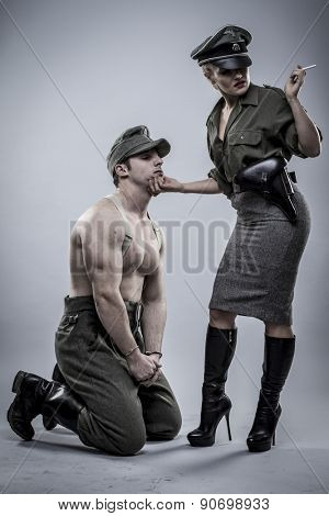 Prisoner, German officer in World War II, reenactment, soldier beautiful woman