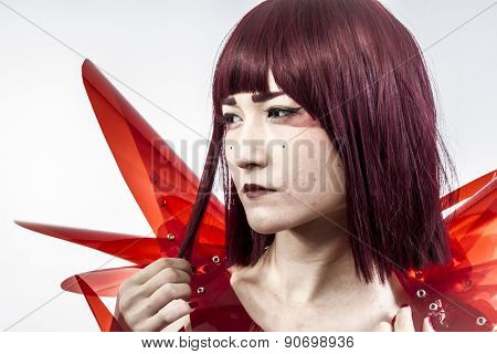 Robot, Japanese woman in costume of red plastic, modern and future concept