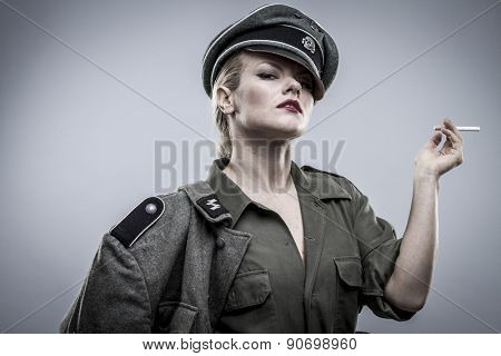 Vintage, German officer in World War II, reenactment, soldier beautiful woman