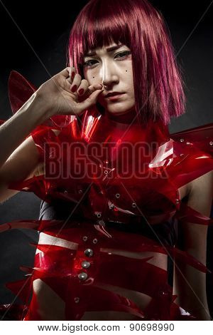 robot with red armor, beautiful young Japanese woman in a suit methacrylate
