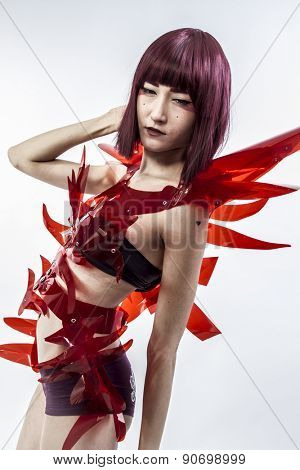Droid, Japanese woman in costume of red plastic, modern and future concept