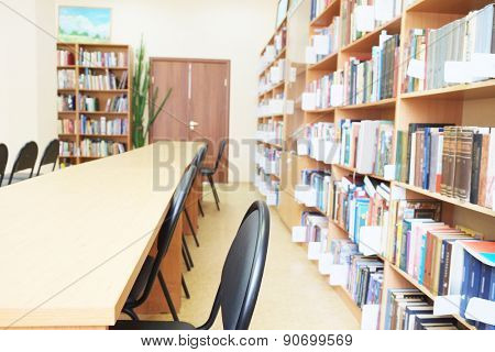 Interior of library with book shelves