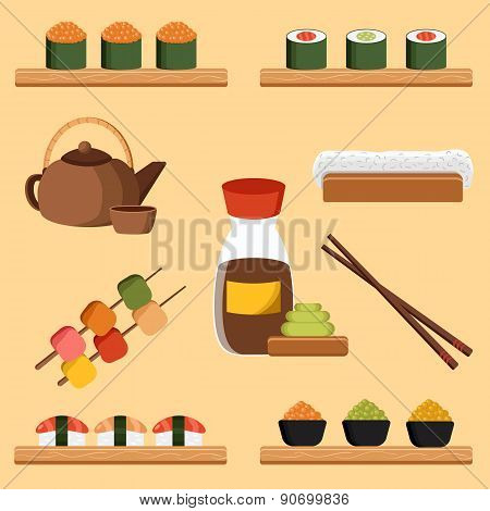 Vector illustration with japanese cuisine objects