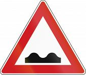 image of bump  - Czech sign indicating speed bumps or uneven road - JPG