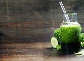 picture of celery  - Fresh organic green smoothie with spinach - JPG