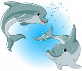stock photo of bottlenose dolphin  - Illustration of cute Dolphins couple - JPG