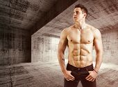pic of shirtless  - Muscular shirtless young man with jeans - JPG
